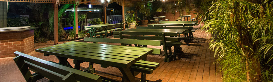 The beer garden at Old Willyama Motor Inn is the perfect place to relax and unwind